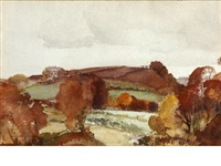 wet ploughed uplands by william russell flint