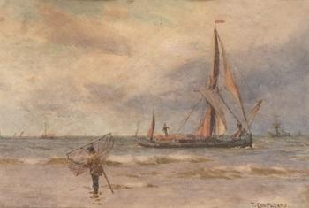 pescador en la playa by tomas campuzano y aguirre