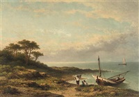 a moored fishing boat by johannes hilverdink