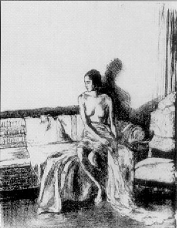 woman seated in an interior by ethel gabain