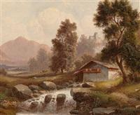 mill by a woodland stream by ferdinand lepie