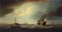 english and dutch men of war in a swell by thomas allen