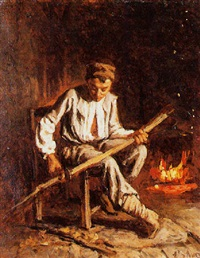 jeune paysan devant le feu by edouard d' apvril