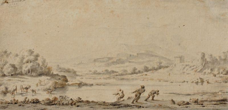 paysage fluvial avec pêcheurs by karel dujardin