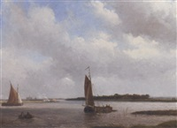the river spaarne, haarlem in the distance by arnoldus johannes eymer