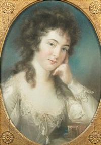 portrait de jeune femme accoudeé sur un livre by john russell