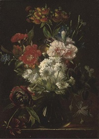 carnations, peonies and other summer blooms in a glass vase by arnoldus bloemers