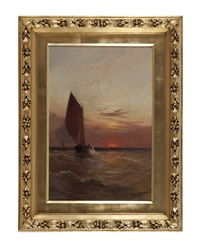 sailing ship at sunset by alfred de breanski sr
