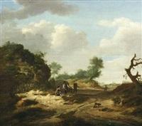 paysage animé de promeneurs by guillam dubois