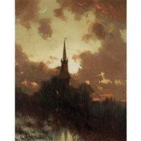 the church spire, twilight by george herbert mccord