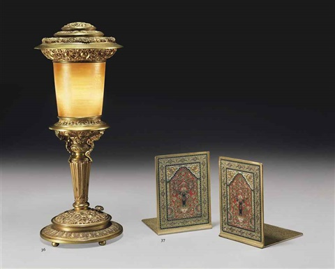 persian rug bookends (pair) by tiffany studios