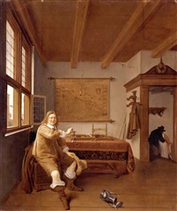 the interior of a dutch house with a seated cavalier holding an upturned wineglass by isaac koedyck