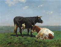 paysage avec vaches by alfred jacques verwee