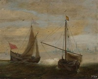 two small ships in front of a dutch town by hans (johan) goderis