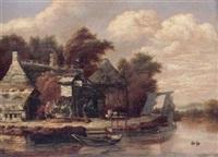 paysage fluvial animé de personnages by michel van vries