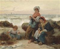 fischerfrauen mit kind an der küste by robert kemm