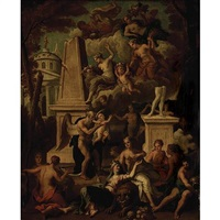 an allegorical scene with figures by classical ruins by noël nicolas coypel