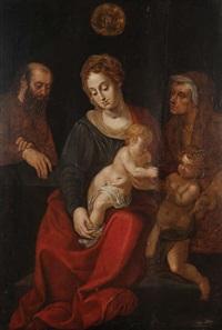 la vierge à l'enfant jésus entourée de joseph, sainte anne et saint-jean baptiste enfant by michiel coxie the elder