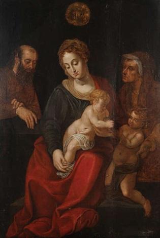 la vierge à lenfant jésus entourée de joseph sainte anne et saint jean baptiste enfant by michiel coxie the elder