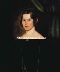 portrait of a woman in a black dress by joseph whiting stock