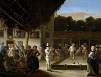 croquet being played in the courtyard of an inn by gerrit lundens