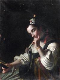 jeune femme pensive tenant un livre by felice boscaratti
