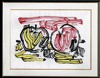 red apple and yellow apple (from seven apple woodcuts series) by roy lichtenstein