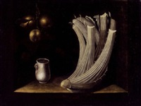 still life with a cardoon, a pewter drinking cup and hanging apples by juan (fray) sanchez y cotan