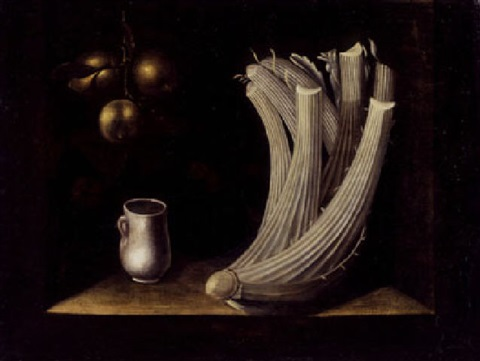 still life with a cardoon a pewter drinking cup and hanging apples by juan fray sanchez y cotan