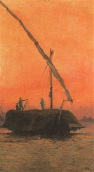 arrivée au port d'anvers au soleil couchant by comte lepic
