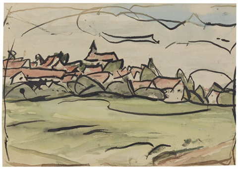 dorf landschaft watercolor over pencil verso by christian rohlfs