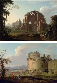 the temple of minerva, rome (+ the tomb of cecilia metella on the via appia; pair) by carlo labruzzi