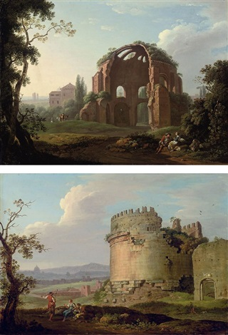 the temple of minerva rome the tomb of cecilia metella on the via appia pair by carlo labruzzi