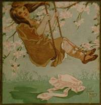 young girl riding swing by violet moore higgins