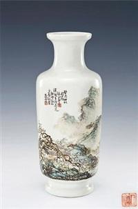 粉彩山水连景题诗瓶 (a fine famille-rose vase with landscape and inscriptions) by tu juting