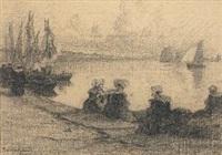 bretonnes assise sur le quai by fernand marie eugène legout-gérard