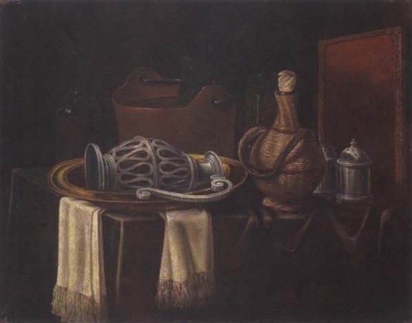 Stillleben mit Korbflasche und Küchengeschirr Natura morta su un ...