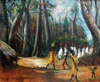 ututu, morning meeting of chiefs at old asaba by ben enwonwu