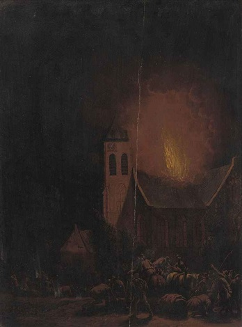 villagers fleeing a fire by egbert lievensz van der poel