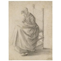 a seated woman making lace (study) by geertruyd roghman