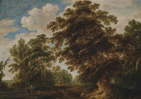 a wooded landscape with travellers on a track by alexander keirincx