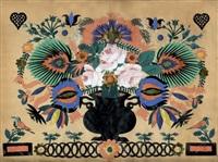 blumenbouquet mit vögeln und herzen by johann-jakob hauswirth