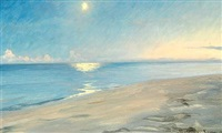 moon light at skagen beach by peder severin krøyer