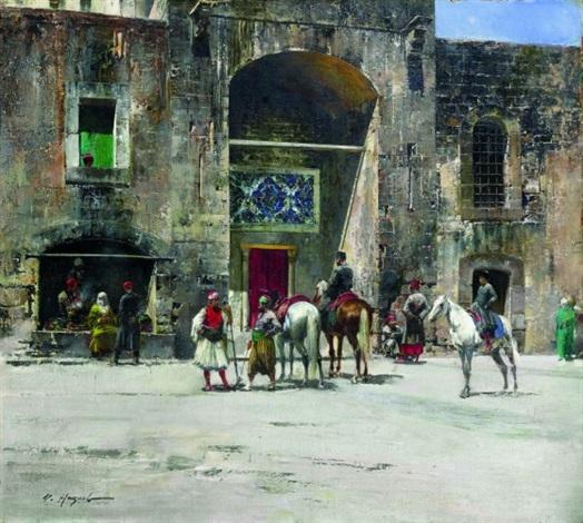 la halte des cavaliers en turquie by victor pierre huguet