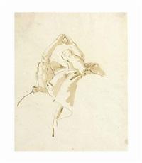 a figure seen di sotto in su, his arms raised above his head by giovanni battista tiepolo