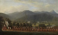 sir neil menzies at the head of his clan with castle menzies beyond by scottish school (18)
