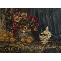 still life of flowers, fruit and figurine on a ledge by hermann courtens
