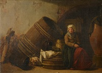 village woman in a cellar by marc antoine bilcoq