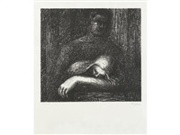 lullaby sleeping head & cavern (from auden poems, moore lithographs (2 works) by henry moore