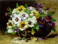 a basket of pansies by gilbert martin